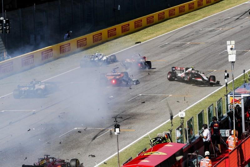 F1 Tuscan GP: Early red flag after multi-car crash on safety car restart