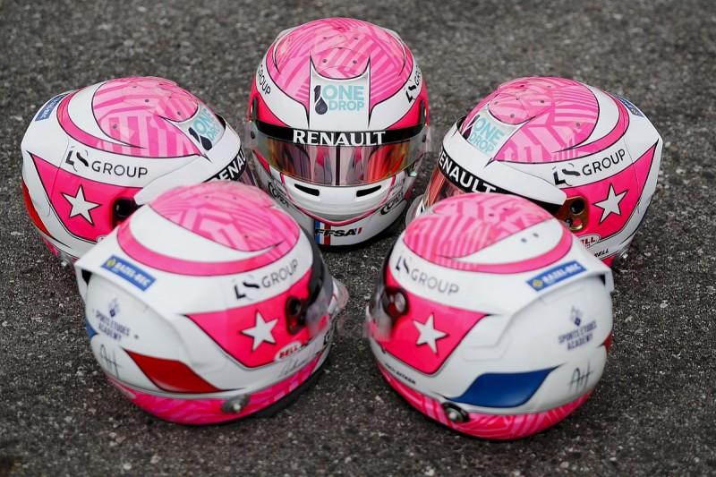 Renault juniors wearing Hubert helmets in tribute to late F2 racer