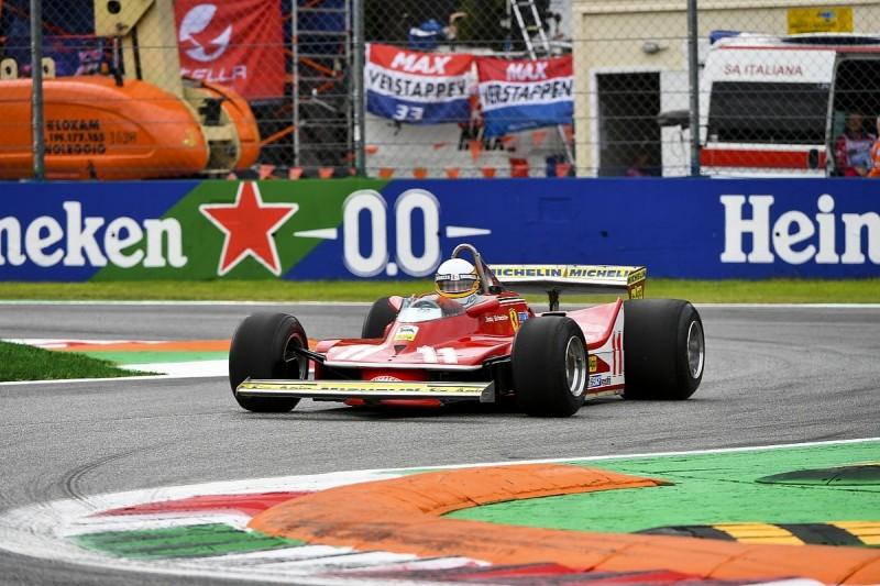 Jody Scheckter demonstrates 1979 F1 title win Ferrari at Monza