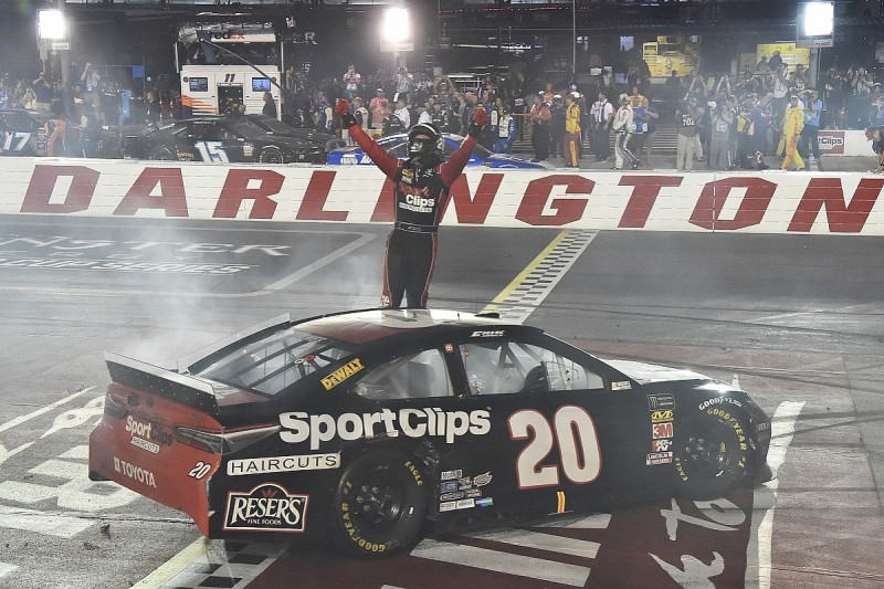 Darlington NASCAR: Erik Jones wins as Kyle Busch crashes in battle