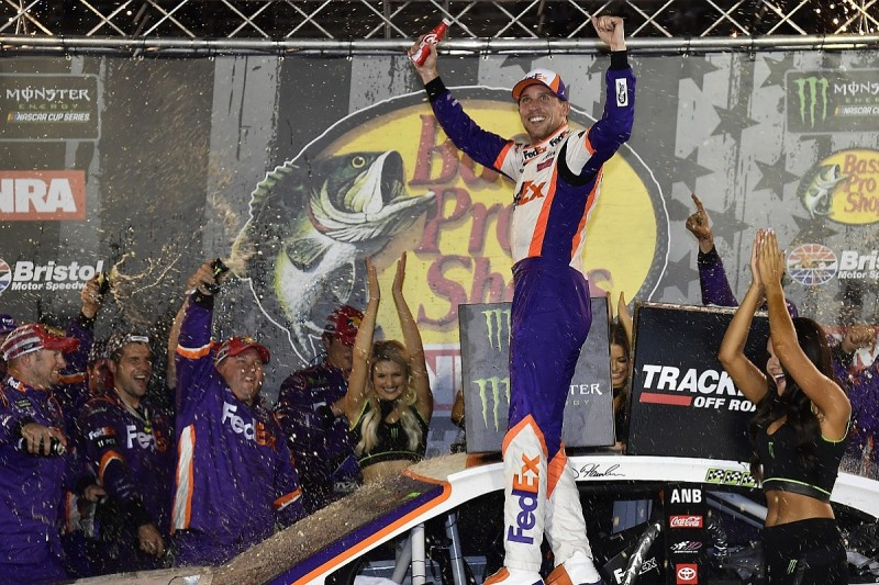 Toyota driver Hamlin comes from two laps down for Bristol NASCAR win