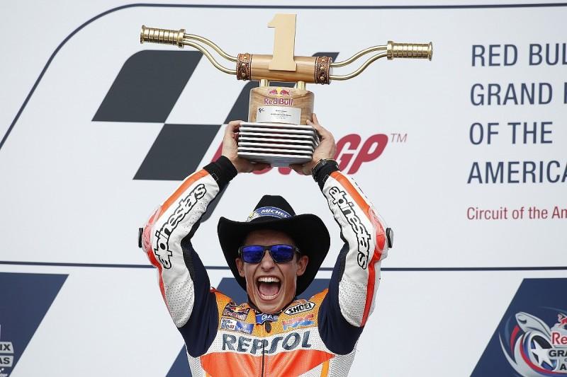 Marc Marquez dominates Austin MotoGP again in crash-strewn race
