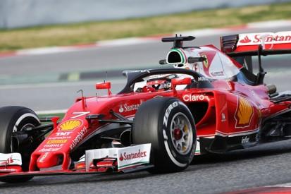 Kimi Raikkonen tests F1's halo head protection system on Ferrari