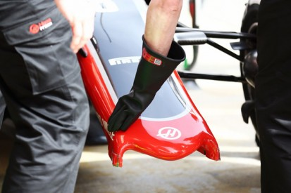 Front wing failure interrupts Haas team's first Formula 1 test