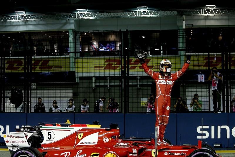 Vettel beats Red Bulls to Singapore Grand Prix pole, Hamilton fifth