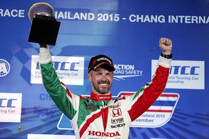 Buriram WTCC: Honda's Tiago Monteiro wins as darkness stops race