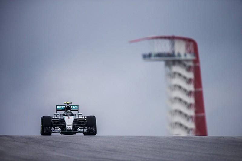 US F1 Grand Prix: Mercedes' Nico Rosberg tops damp first practice