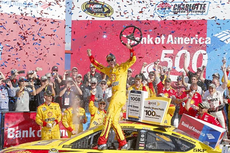 NASCAR Charlotte: Joey Logano dominates delayed race