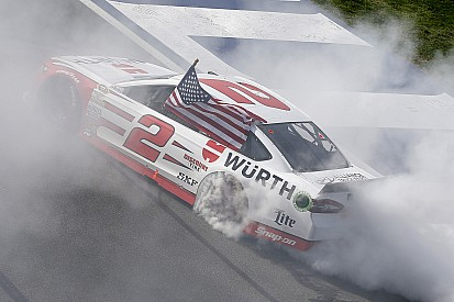 Brad Keselowski takes last lap win in Fontana