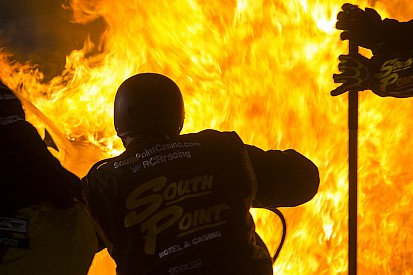 Crew members engulfed in flames in pit stop fire - video