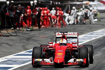 Vettel on the podium, Raikkonen fifth