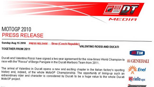 Ecco il comunicato del matrimonio Valentino-Ducati