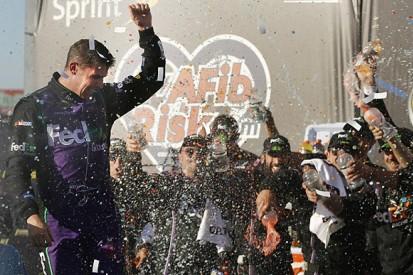 Chicagoland NASCAR: Denny Hamlin wins for Joe Gibbs despite spin