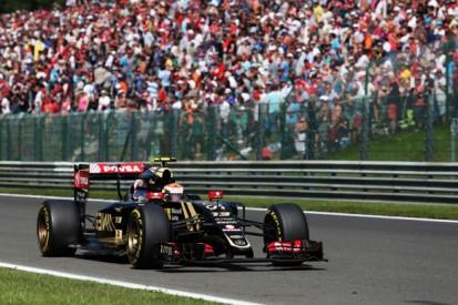 Pastor Maldonado was eliminated from Belgian GP by 17G kerb impact