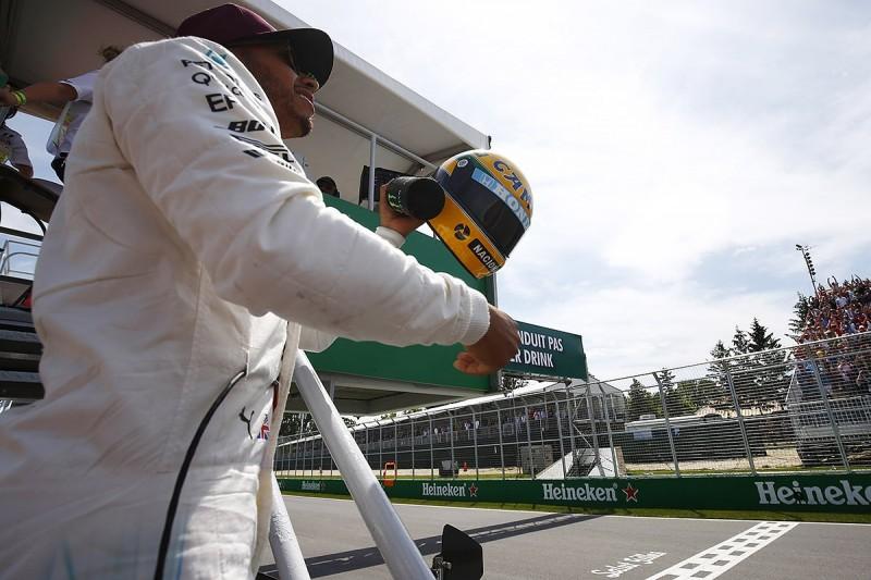 Lewis Hamilton given Ayrton Senna helmet for matching F1 pole tally
