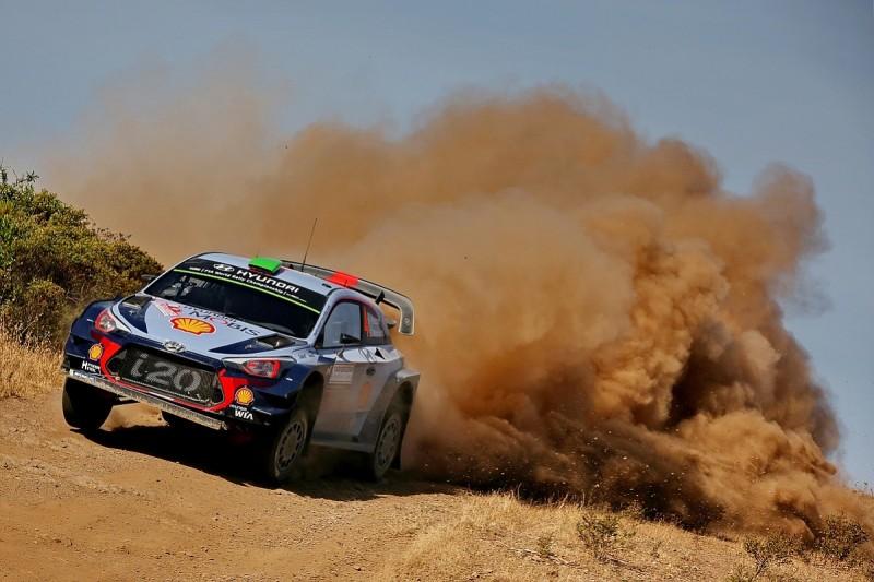 WRC Rally Italy: Hayden Paddon into lead after Kris Meeke rolls