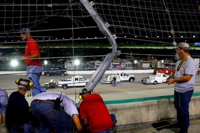 NASCAR Truck race at Kentucky halted by catchfence-damaging crash