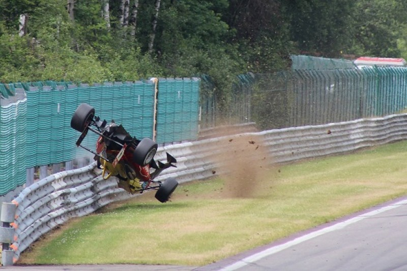 Gustavo Menezes says he skimmed his head in Spa European F3 crash