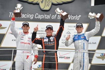Indianapolis Indy Lights: Rayhall wins as Jones and Harvey tangle