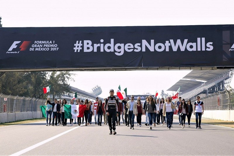 Sergio Perez backs anti-Trump policies #BridgesNotWalls campaign