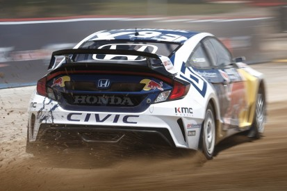 Jenson Button tests Honda Civic rallycross car in America