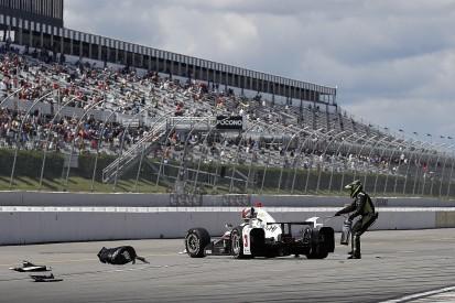 Helio Castroneves unhurt in Pocono IndyCar pitlane crash
