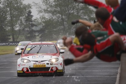 Croft BTCC: MG's Ash Sutton charges to first win in wet race three