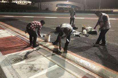 Abu Dhabi GP Turn 20 sausage kerb being repaired after F1 practice