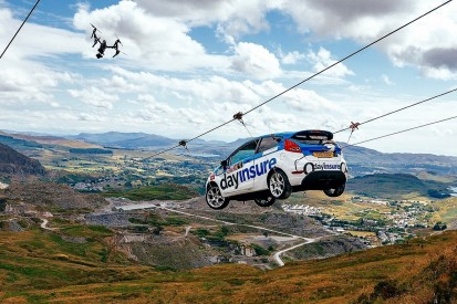 Fiesta completes zip wire stunt to showcase new Rally GB stage