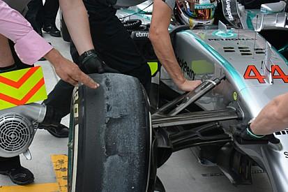 Ecco come Hamilton ha conciato la gomma!