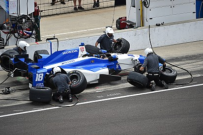 Servia and Carpenter crash as all three Coyne cars get together on pit road