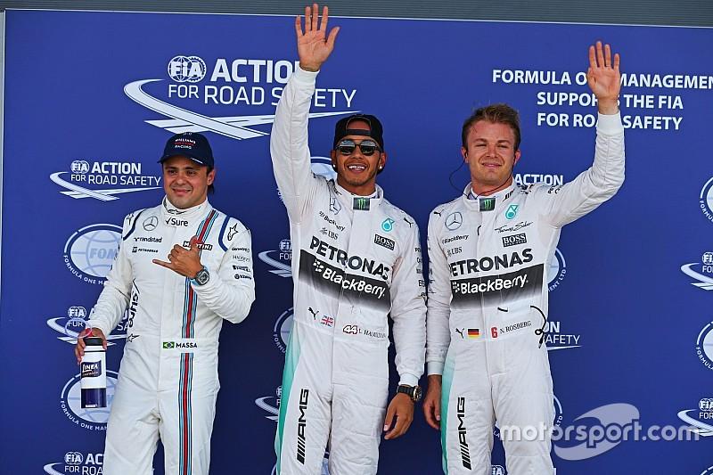 Hamilton surge no fim, supera Nico e crava 46ª pole; Massa é 3º