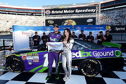 Hamlin claims Bristol pole with new track record