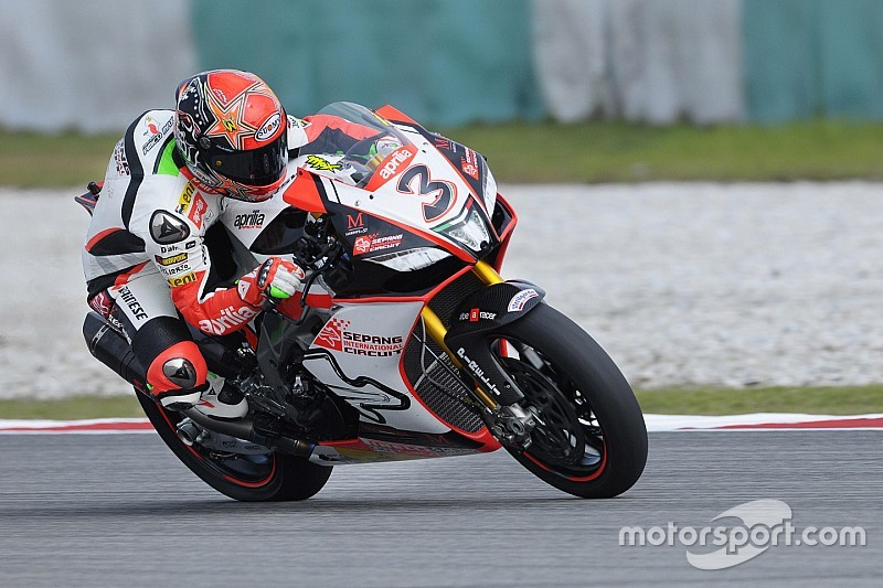 Max Biaggi fährt beim Finale der Superbike-WM für Aprilia