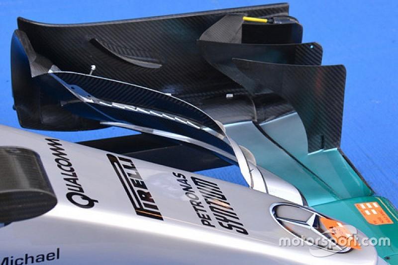 """Mercedes: """"denti di squalo"""" fra i flap dell'ala anteriore"""