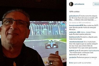 """Com GP no SporTV, Galvão tem dia de espectador: """"estranho"""""""