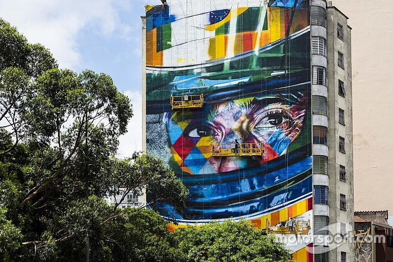 Mural de Senna é inaugurado por Audi e IAS na Av. Paulista