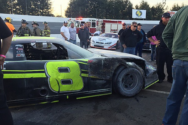 Stock car Crew members injured as Nemechek's Snowball Derby ends in flames