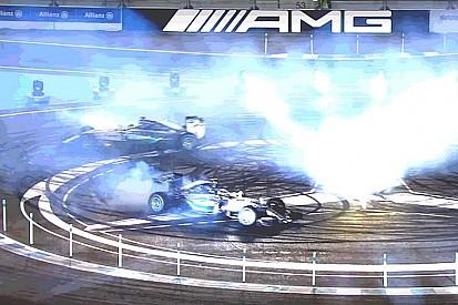 Vidéo - Hamilton et Rosberg s'affrontent en piste et en donuts!