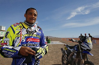Sherco TVS end stage two on high, Santosh struggles