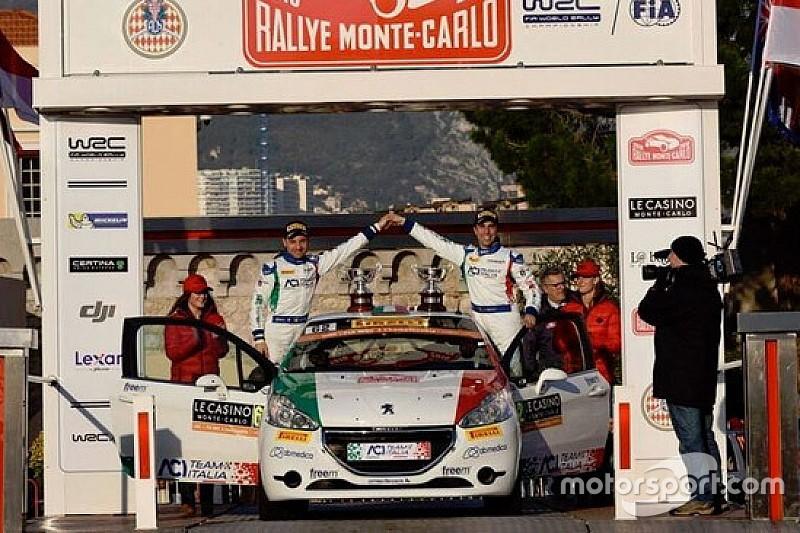 Fabio Andolfi sul podio del WRC3 a Monte-Carlo