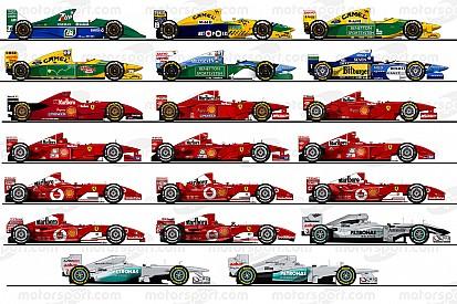 De 20 F1-wagens van Michael Schumacher