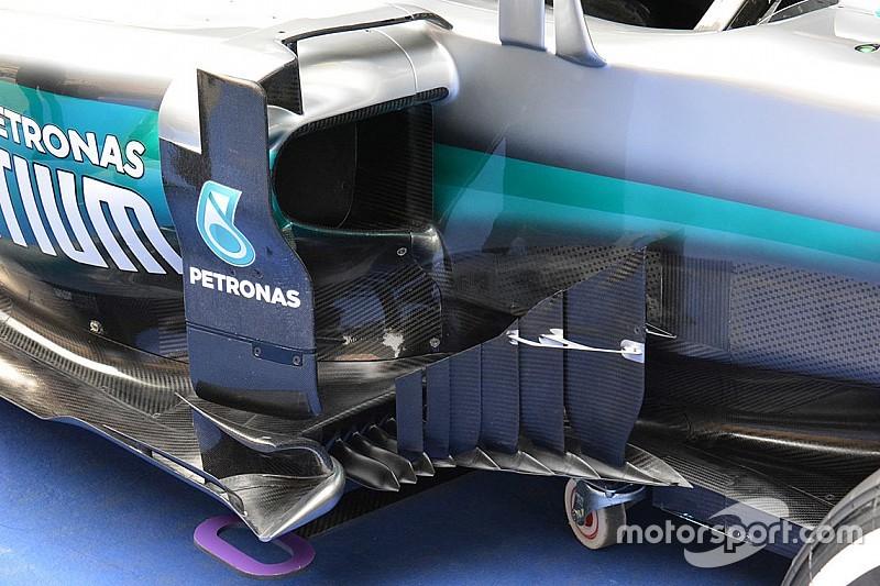 Mercedes: le lame del bargeboard sono più lunghe