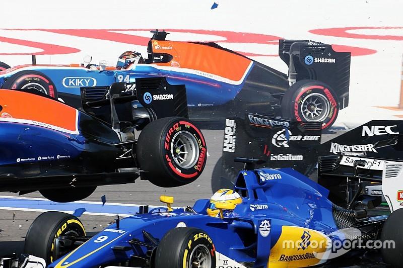 Galería: El accidente en la arrancada del GP de Rusia