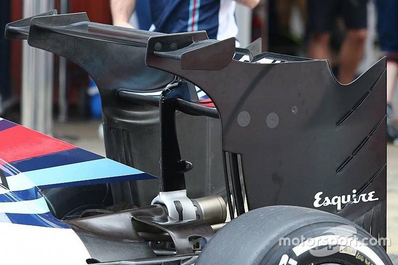 Williams test radicale achtervleugel in Barcelona