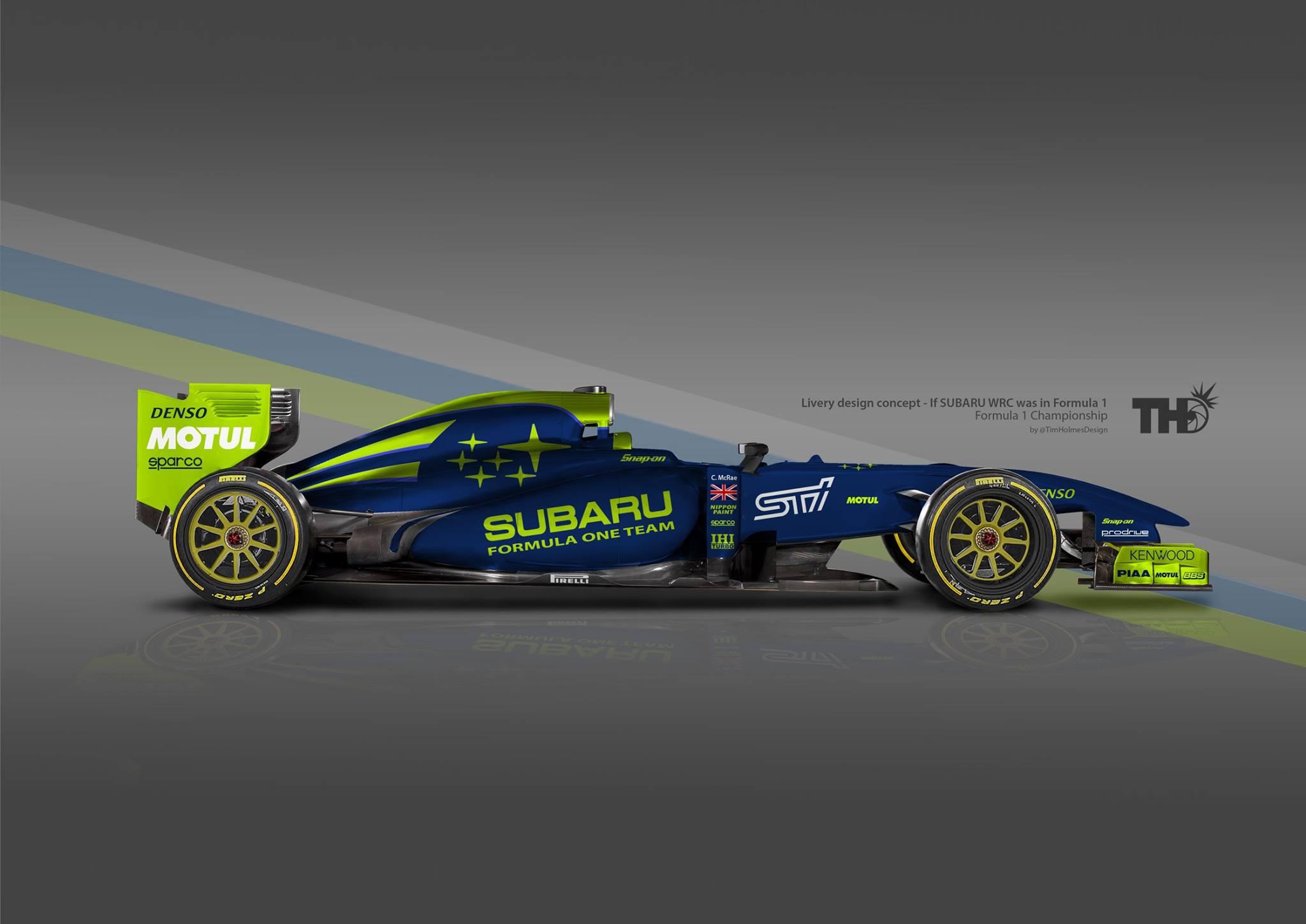 Ilyen lehetne a Subaru F1-es autójának festése
