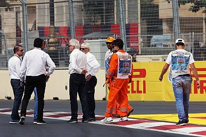 Les officiels de la F1 tentent de réparer les vibreurs du circuit de Bakou