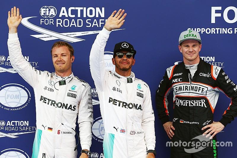 Hamilton verovert pole op opdrogende baan, Verstappen negende