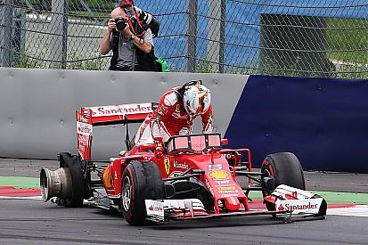 L'explosion du pneu de Vettel due à un débris