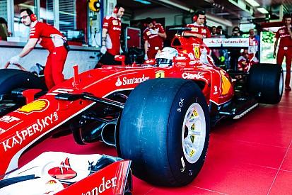Si lavora sulla Ferrari SF15-T XL che è dotata di minigonne e ali nascoste